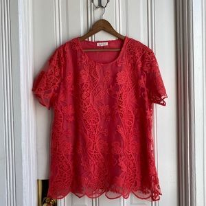 C.O.C. Clothing Obsessed Company Coral Lace Top